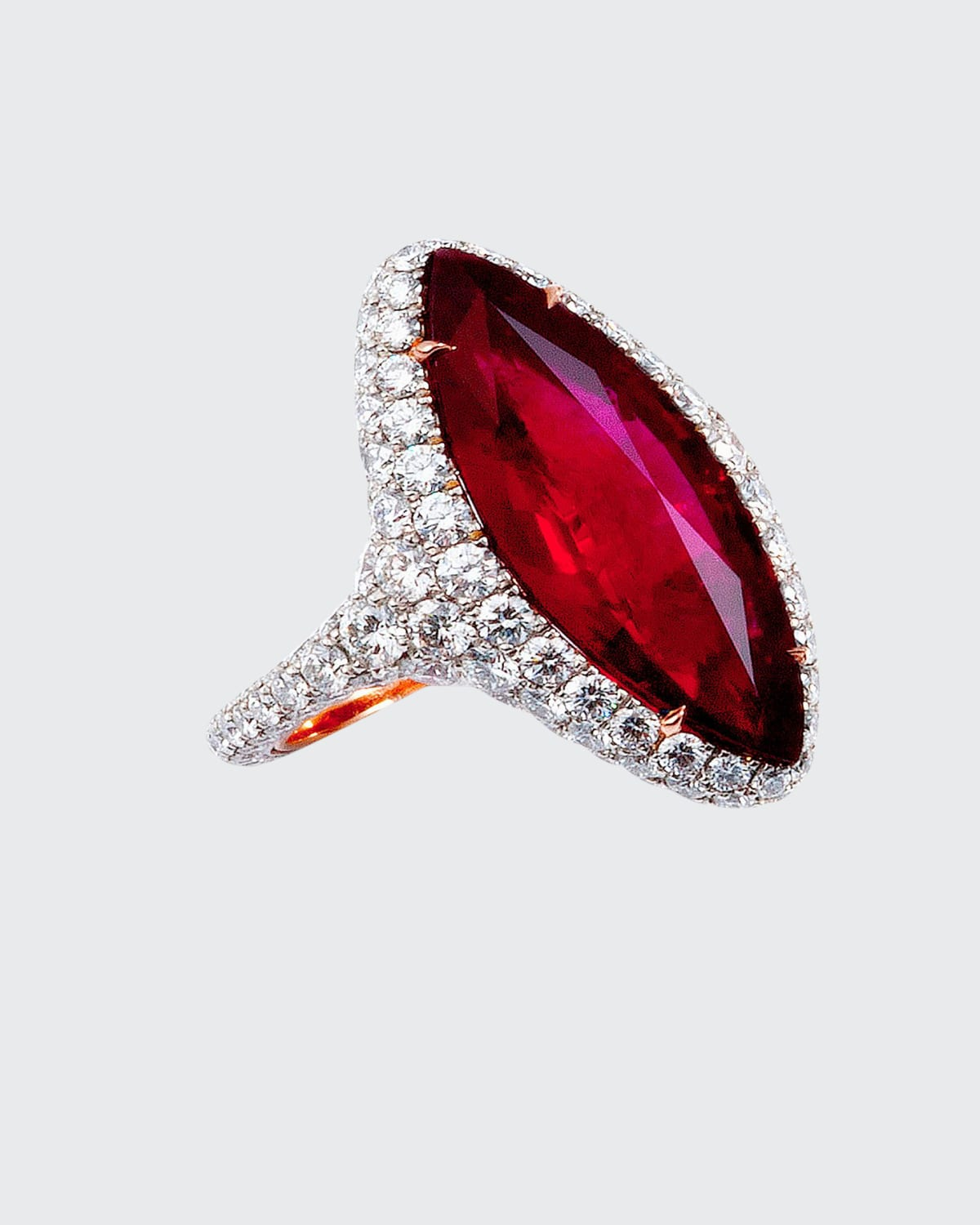 Marquise Thai Ruby Ring with Diamonds