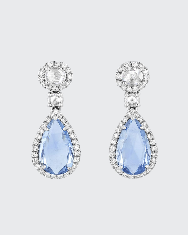 Briolette Natural Burma Sapphire Drop Earrings