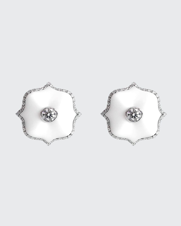 White Ceramic Mini Lotus and Diamond Earrings
