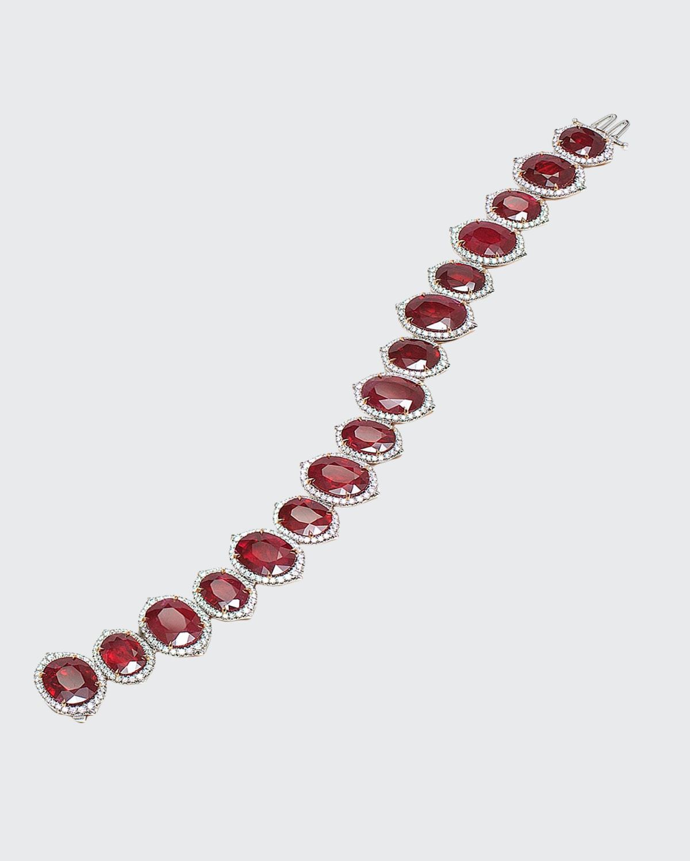 Oval Mozambique Ruby and Diamond Bracelet