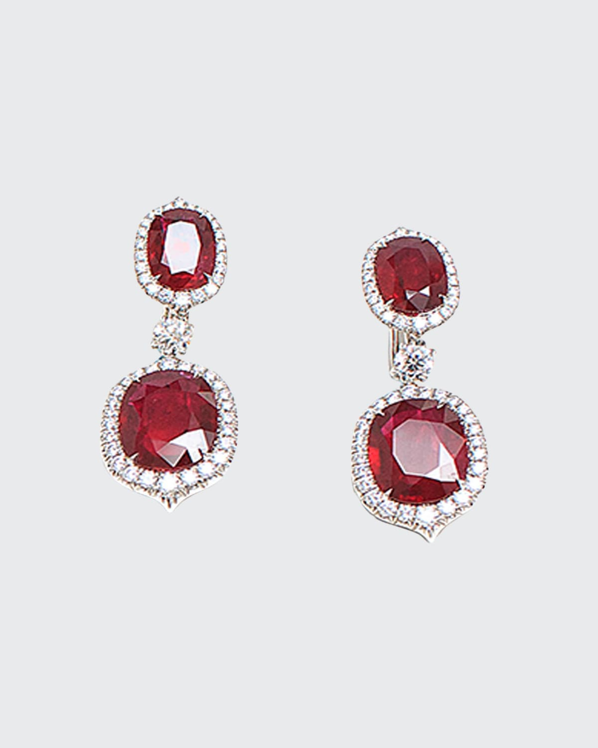 Oval Mozambique Ruby and Diamond Drop Earrings