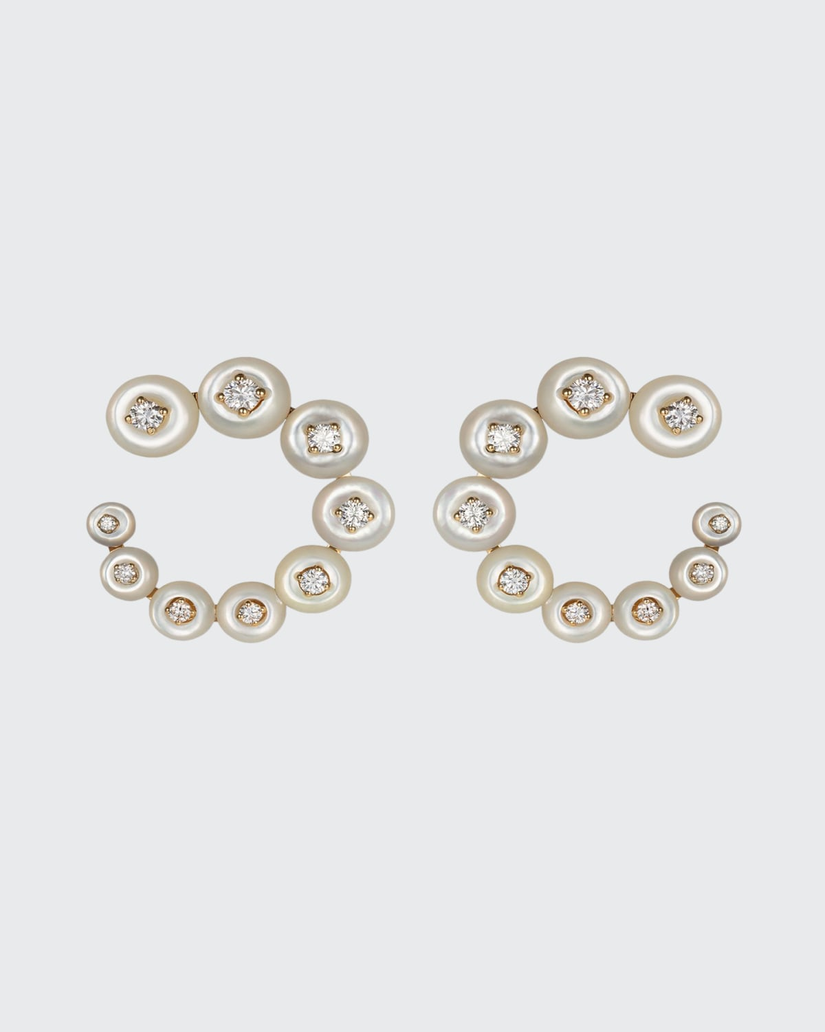 Surrounding Small Circle Earrings with Mother-of-Pearl