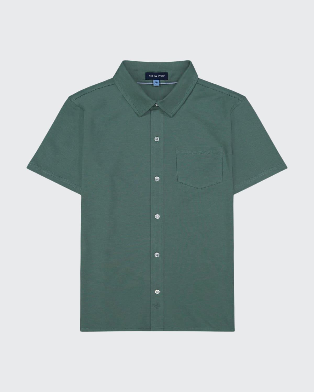 Boy's Short-Sleeve Knit Button-Down Shirt