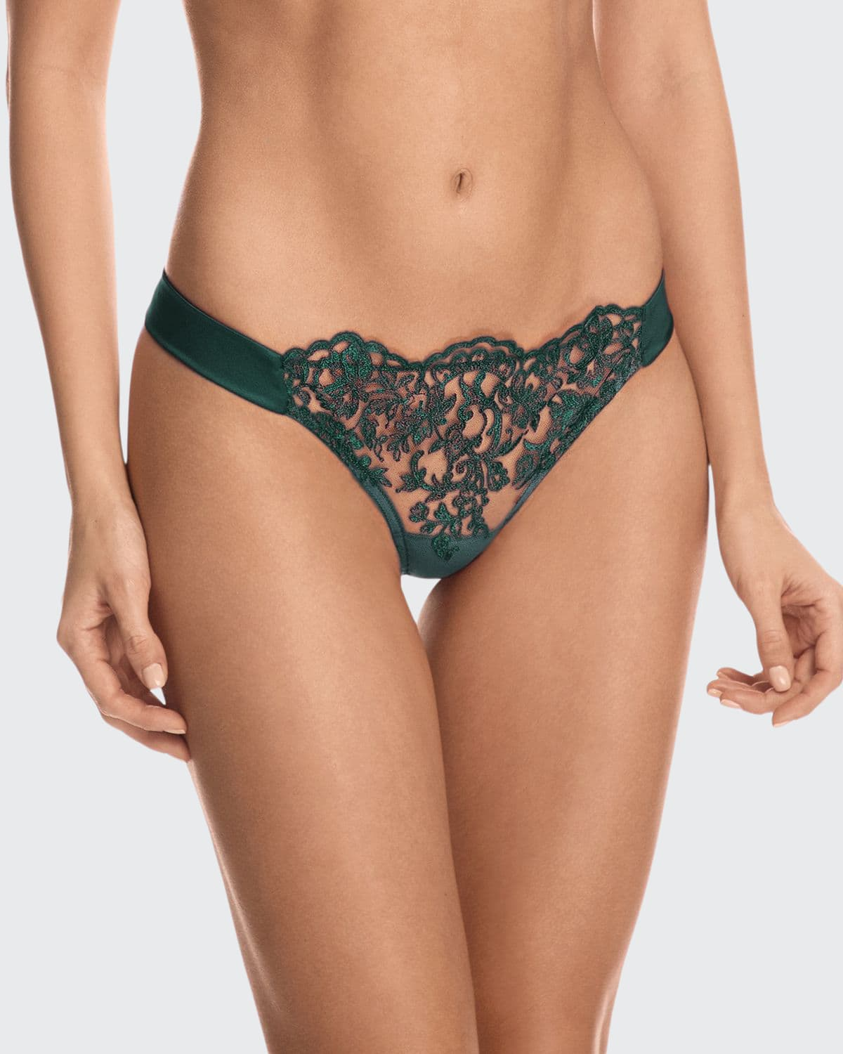 Royal Jewel Embroidered Tulle Thong