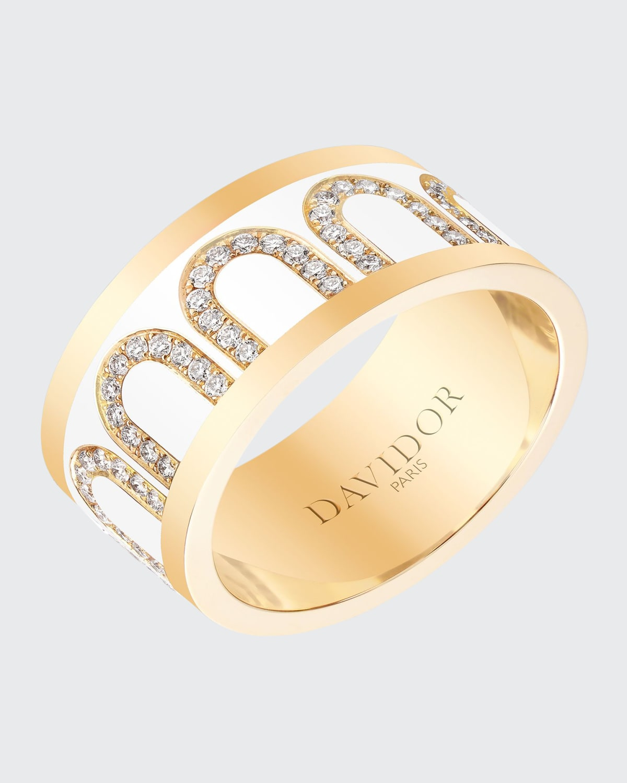 Ring in Neige Ceramic and Diamonds