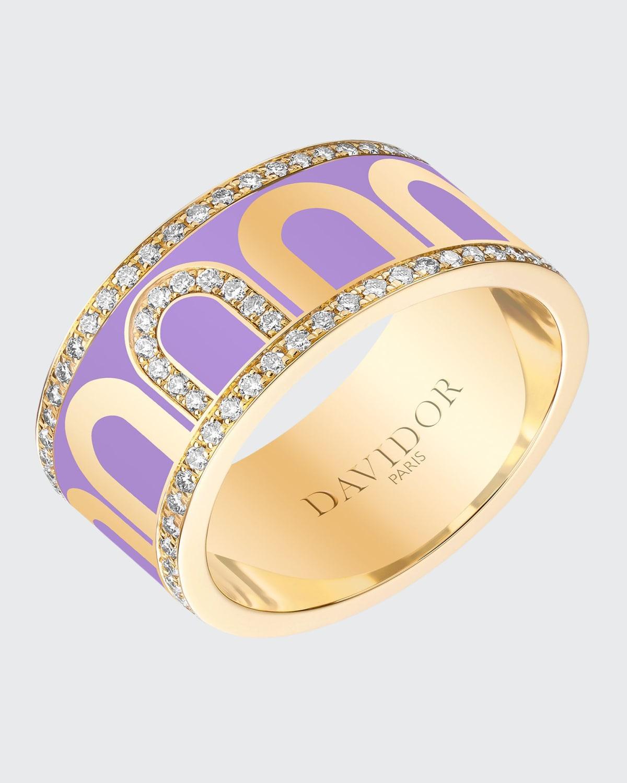 Ring in Lavender Ceramic and Diamonds