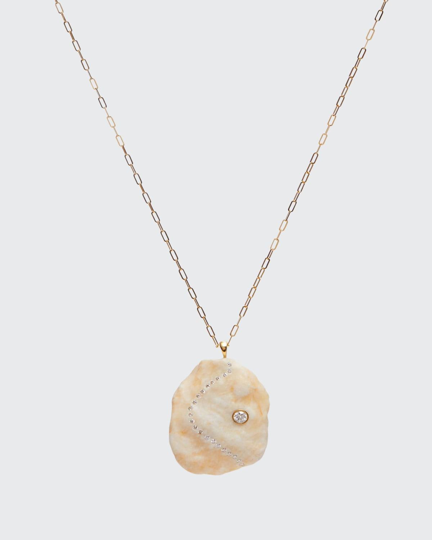 Irregular Oval-Shaped White Stone Necklace