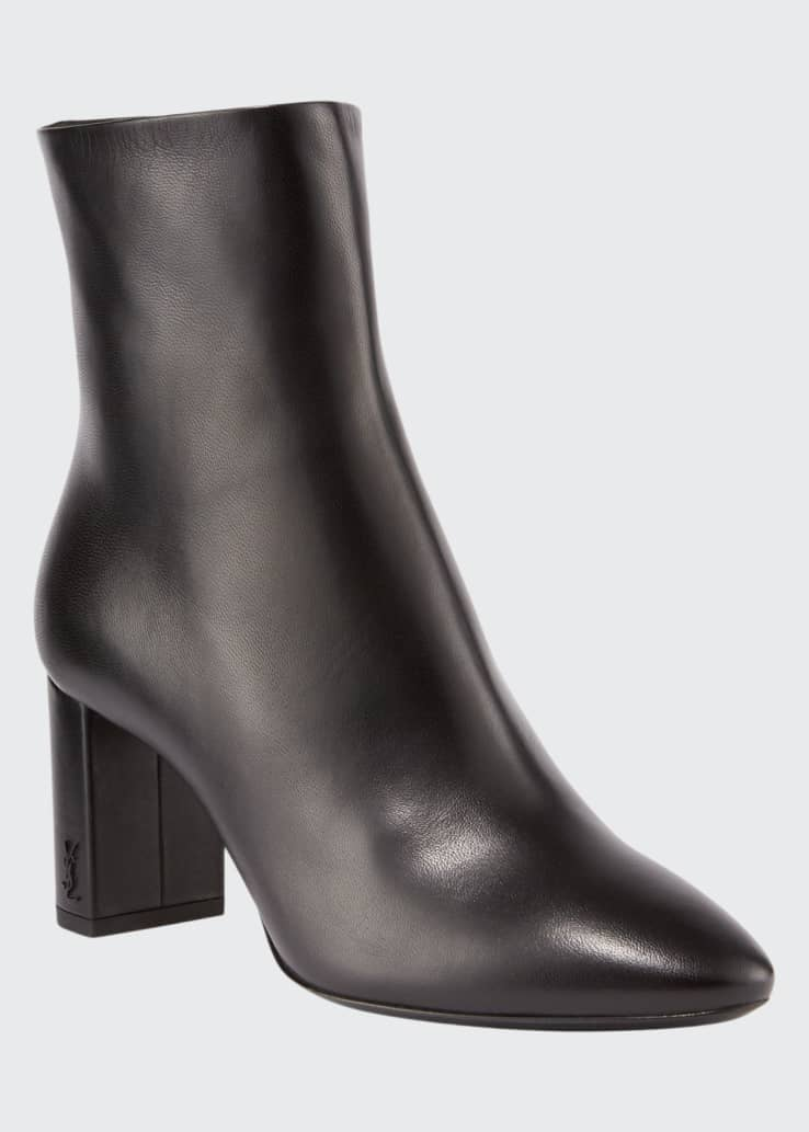 Lou Pin Zip Leather Block-Heel Booties