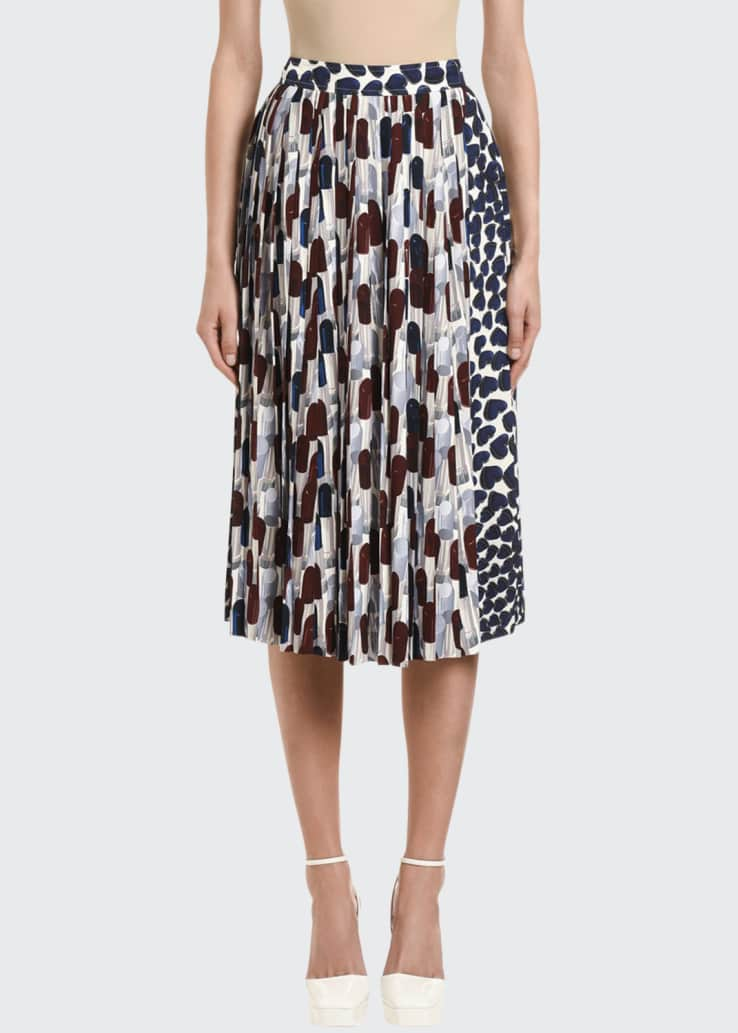 Lipstick-Print Pleated Midi Skirt