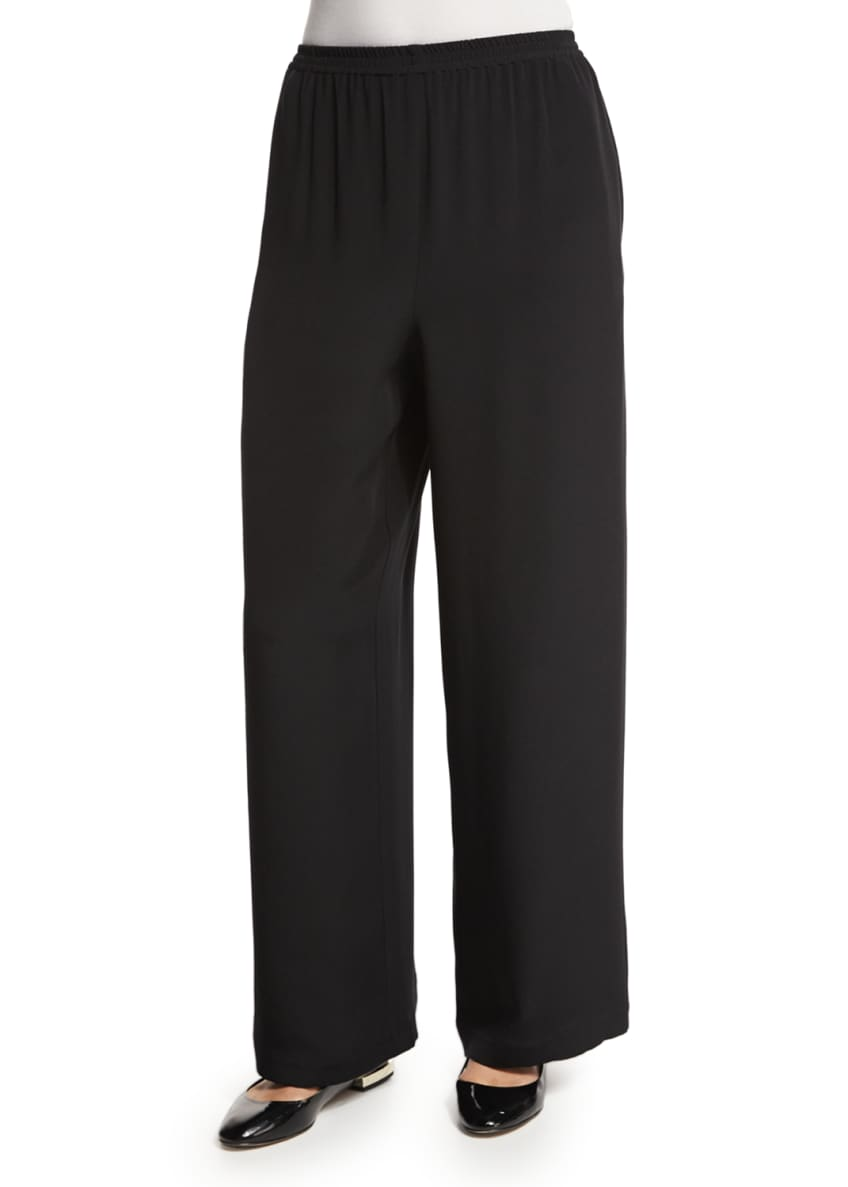 Image 1 of 7: Flared Wide-Leg Silk Trousers