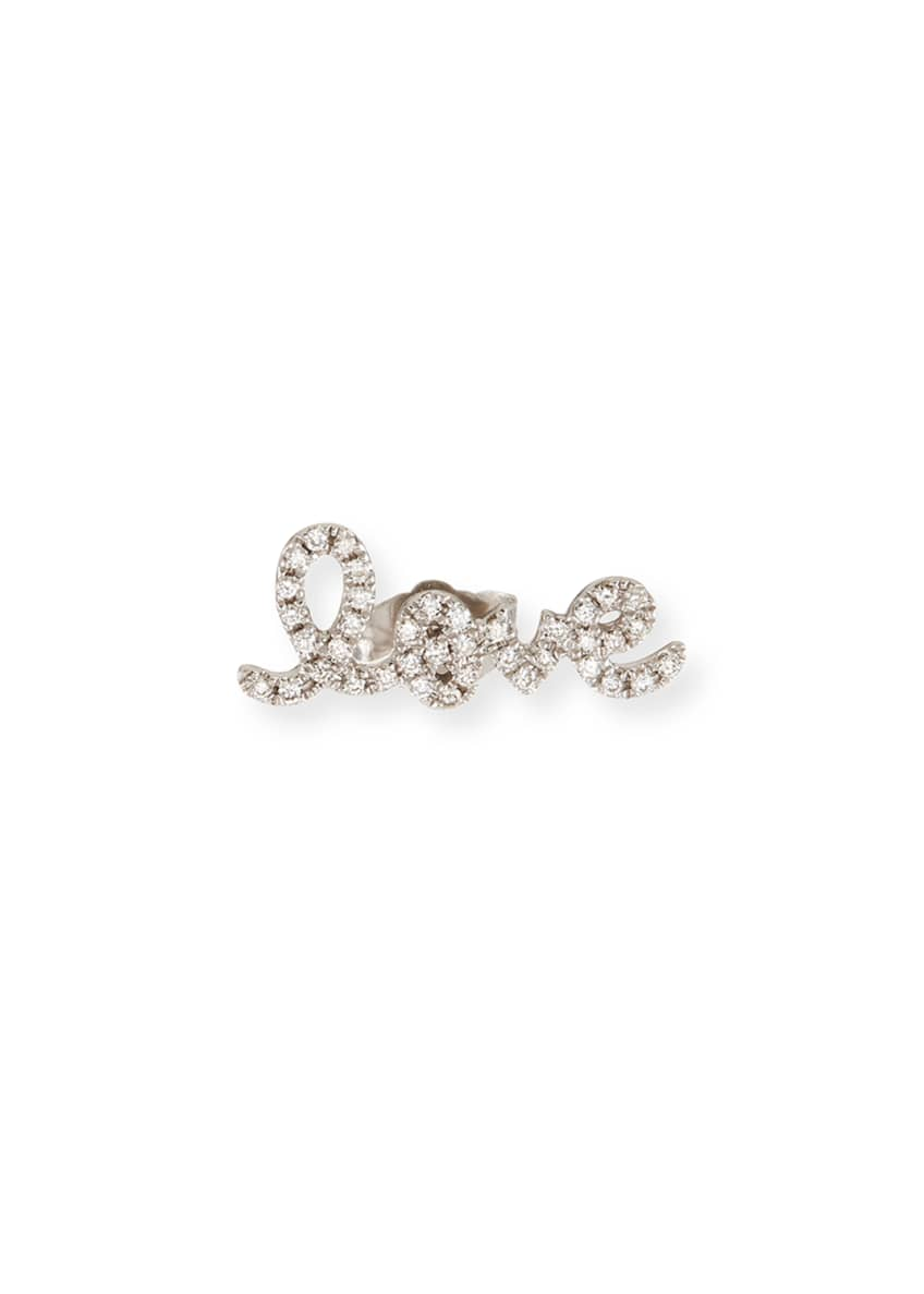 Image 1 of 2: Pave Diamond Love Single Stud Earring