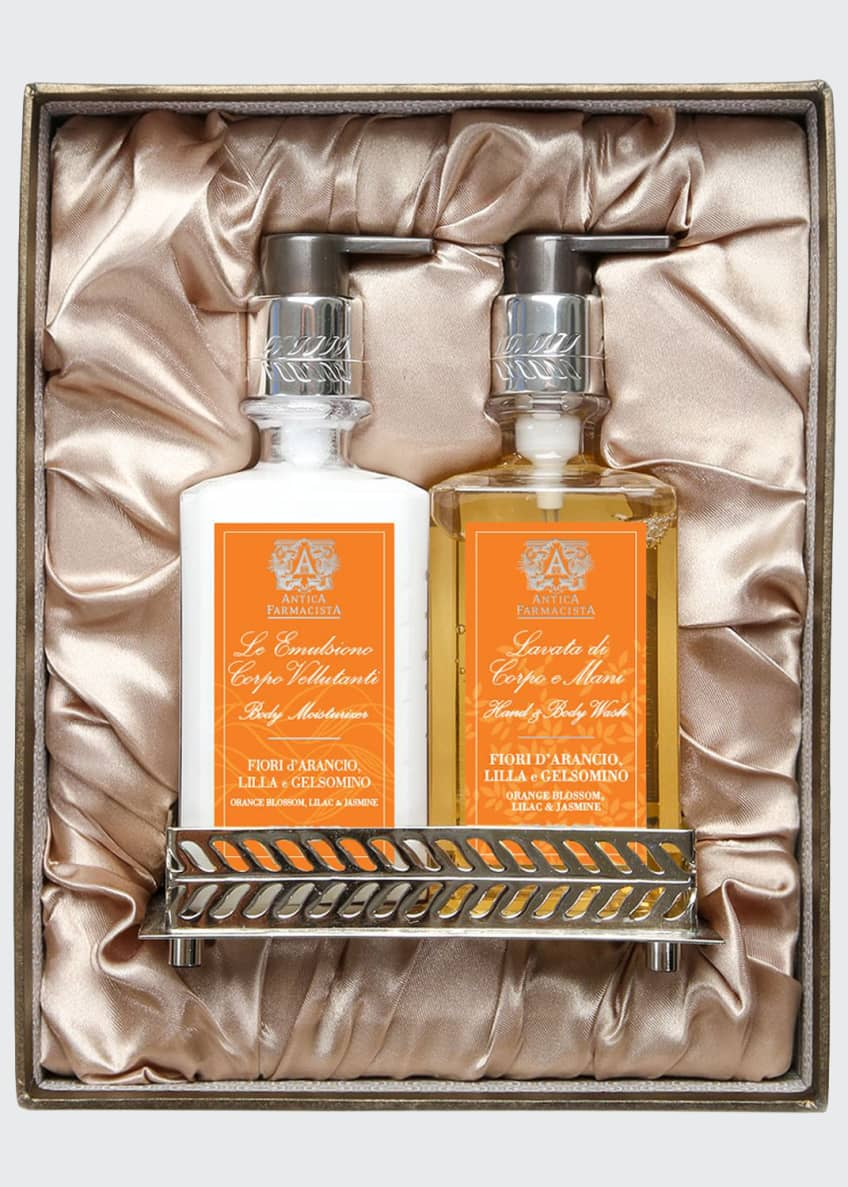Image 1 of 2: Orange Blossom Hand Wash & Moisturizer Gift Set with Tray