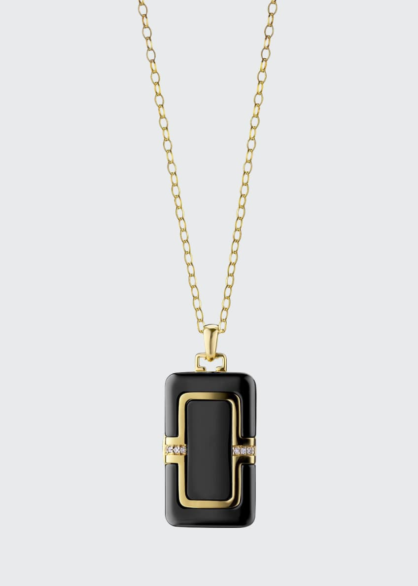 "Image 1 of 2: 18k Ceramic Rectangle Locket with Diamonds, 32""L"