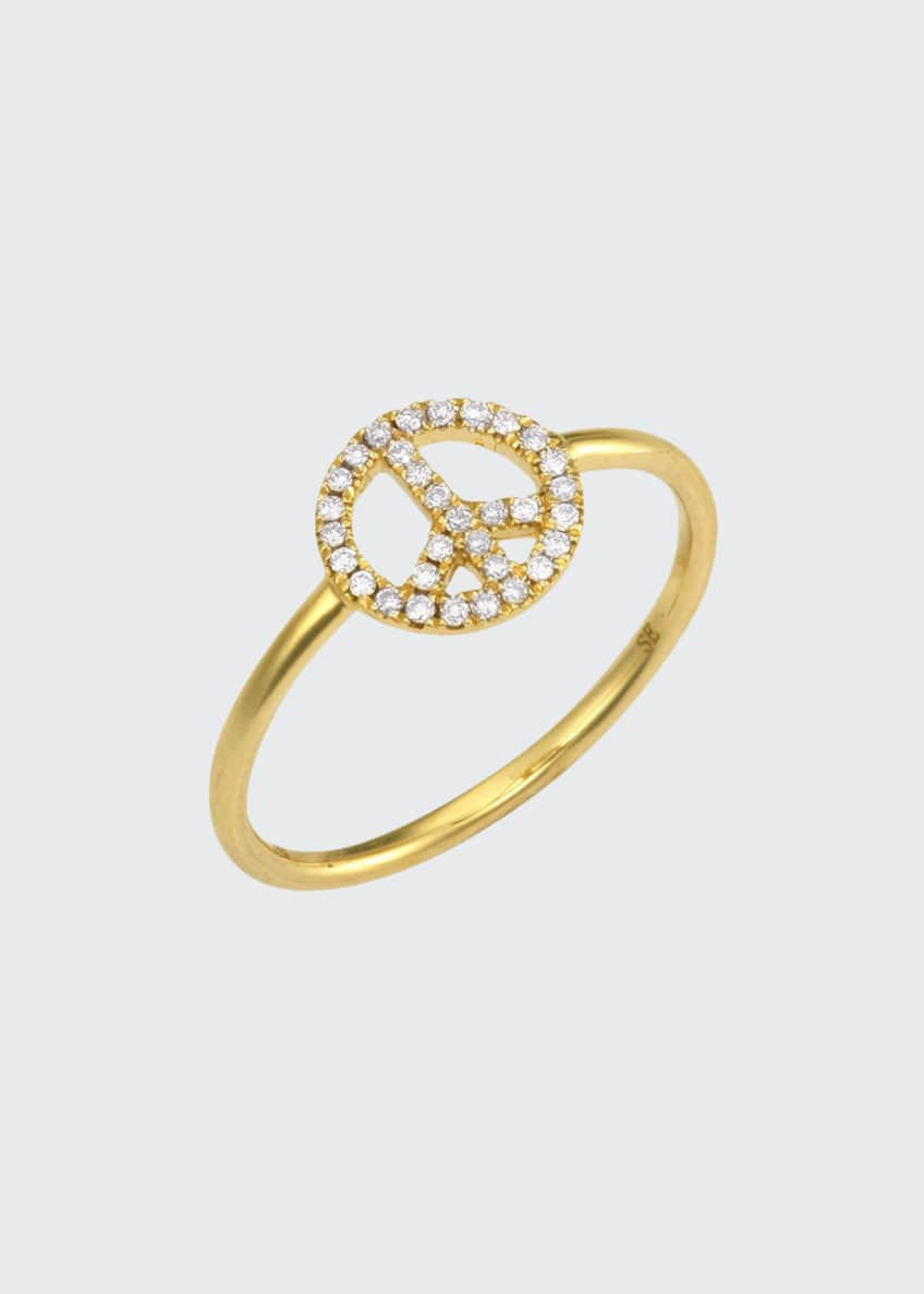 Image 1 of 1: 14k Gold Diamond Peace Sign Ring, size 6.5