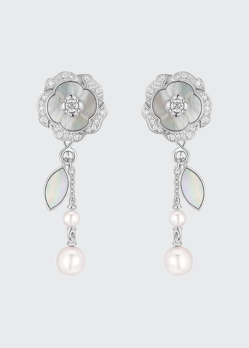 Image 1 of 2: BOUTON DE CAMELIA Earrings in 18K White Gold, Cultured Pearls, Mother-of-pearl and Diamonds