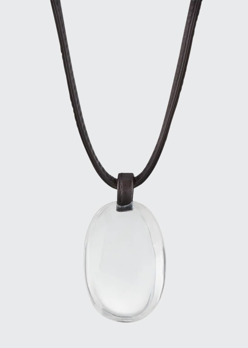 Image 1 of 2: Crystal Pendant Necklace on Leather Cord