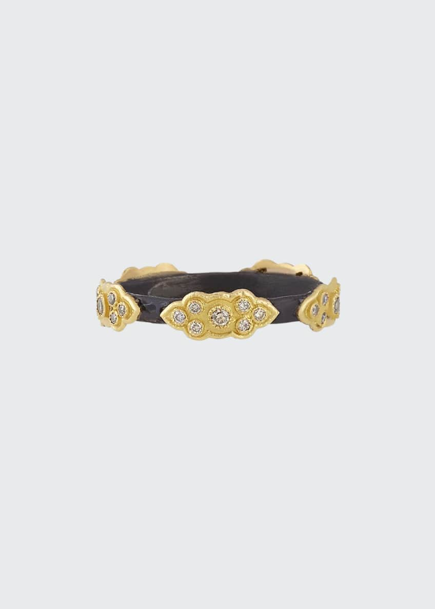 Image 1 of 1: Stackable Champagne Diamond Scroll Ring