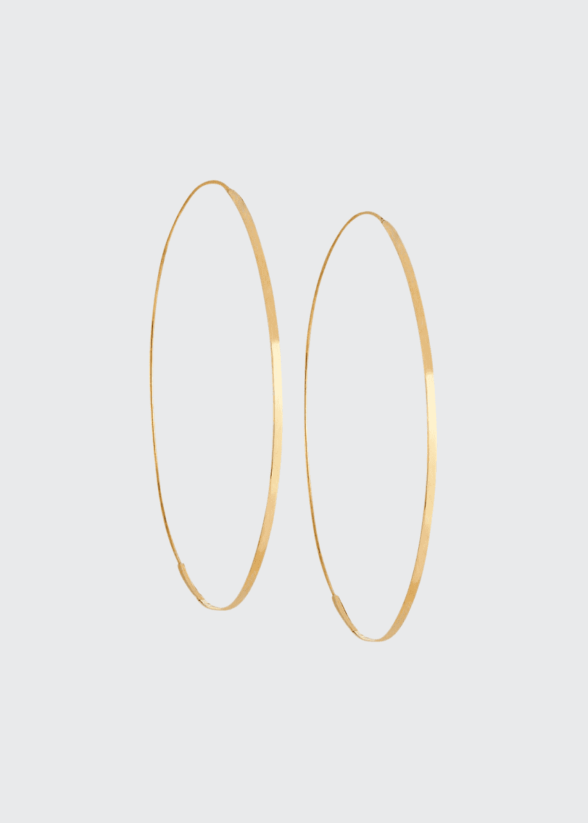 Image 1 of 2: Flat Magic 14K Hoop Earrings
