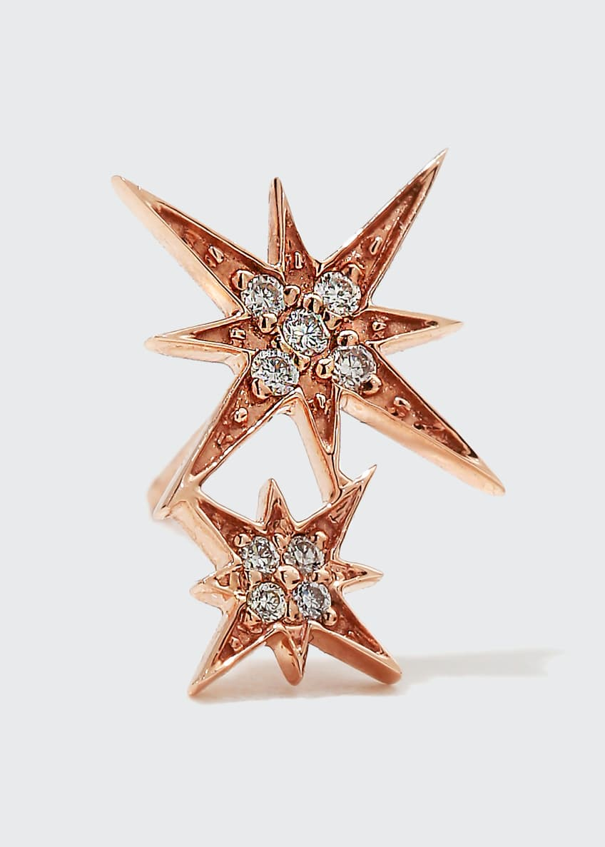 Image 1 of 2: 14k Pave Diamond Double Starburst Stud Earring