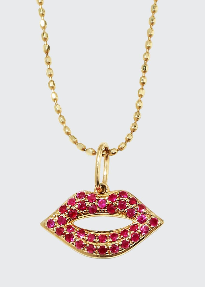 Image 1 of 2: 14k Gold Ruby Lips Pendant Necklace, Small