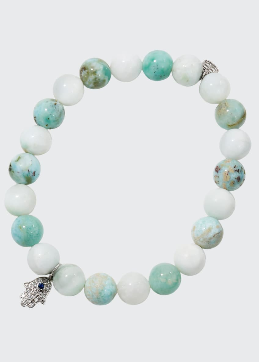 Image 1 of 2: 8mm Beaded Larimar Bracelet with Diamond Hamsa Charm