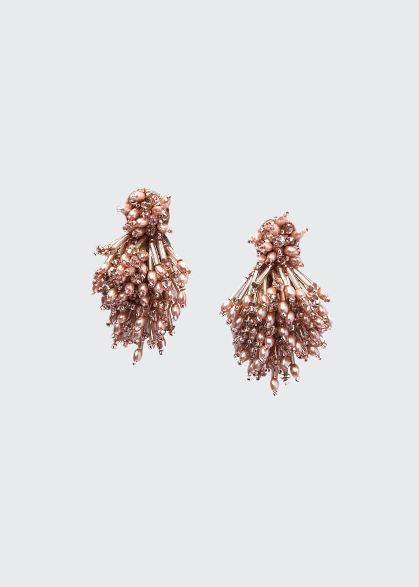 Image 1 of 2: Burst Beaded Statement Earrings, Blush