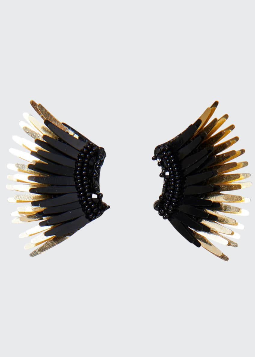 Image 1 of 1: Mini Madeline Statement Earrings, Black/Golden
