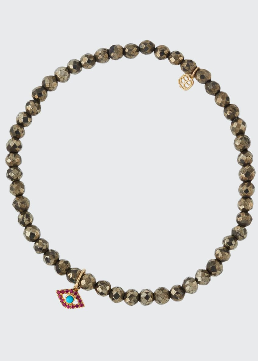 Image 1 of 2: Champagne Pyrite Beaded Bracelet with Ruby & Turquoise Evil Eye Charm