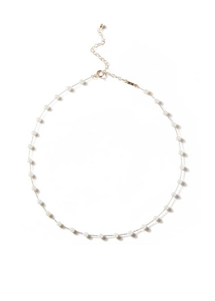 Image 1 of 1: 14k Pearl Station Chain Choker Necklace