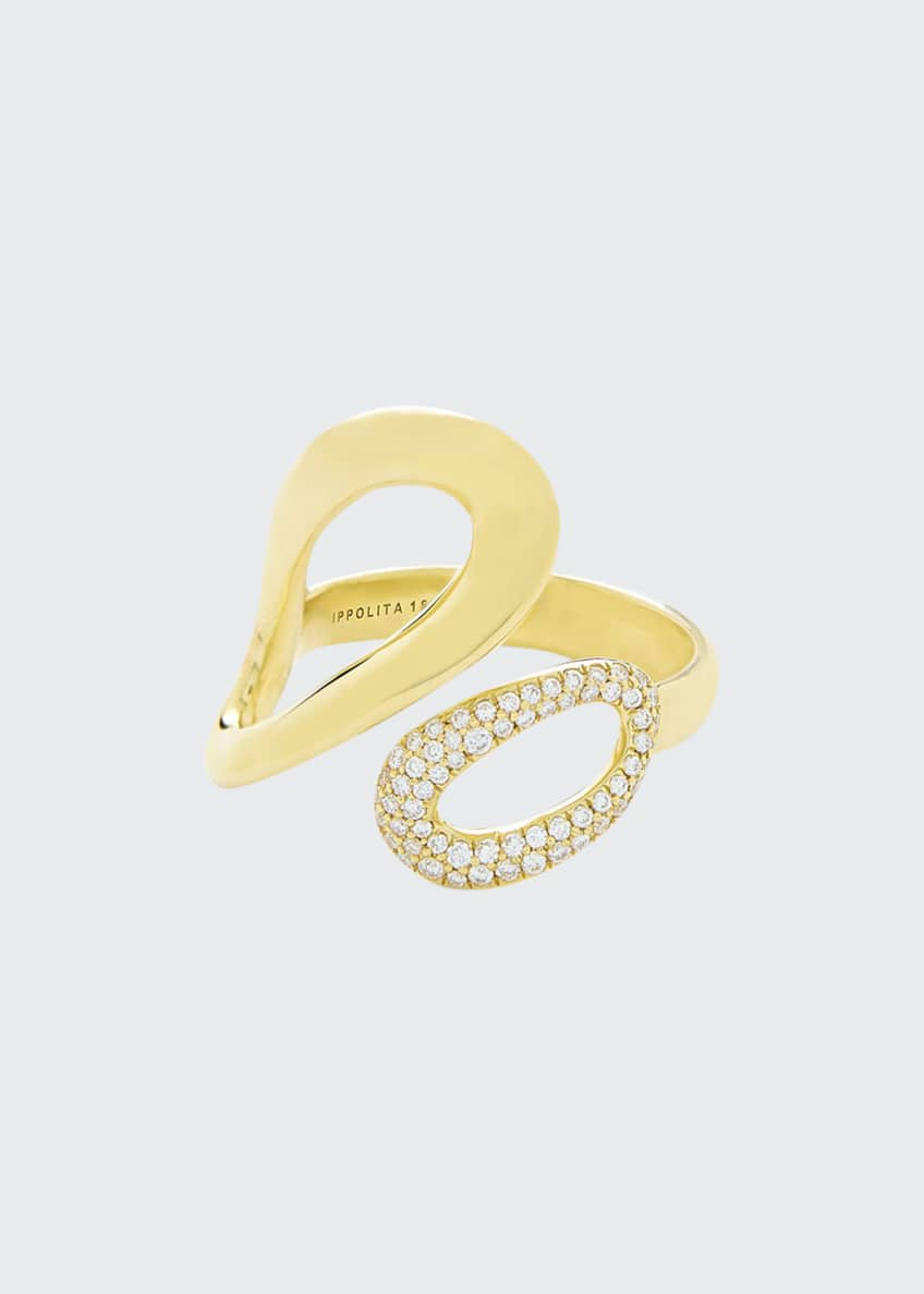 Image 1 of 2: 18K Gold Cherish Bypass Ring with Diamonds