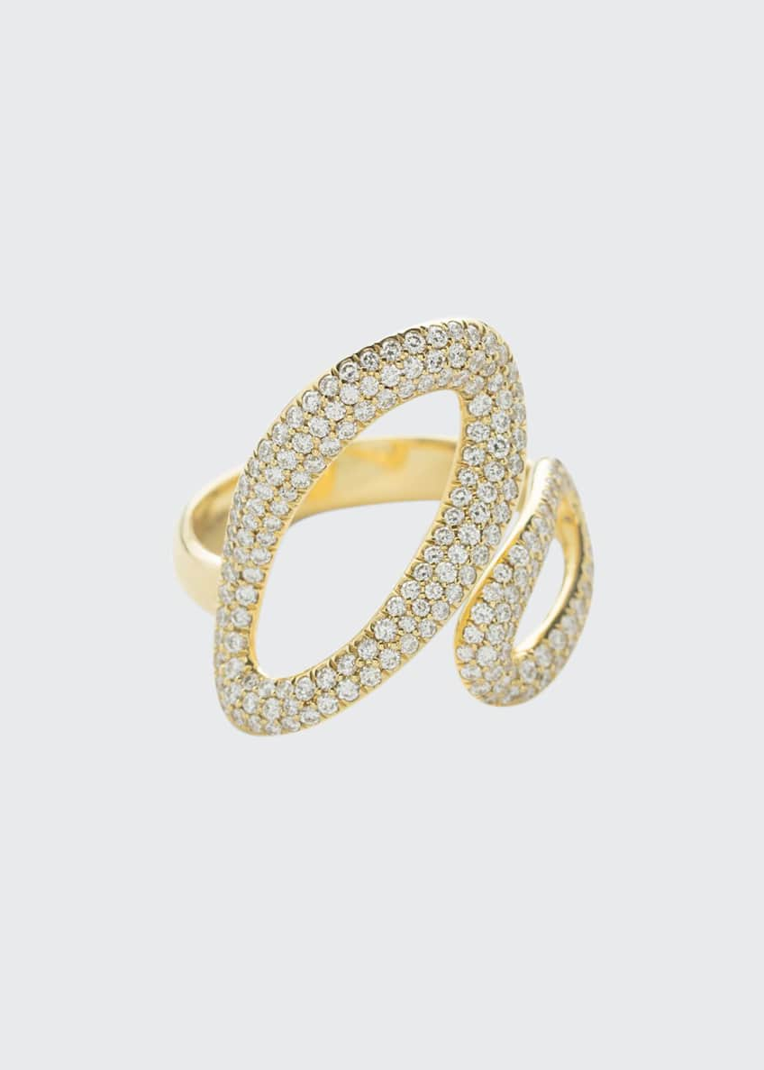 Image 1 of 1: 18K Cherish Bypass Ring with Diamonds, Size 7