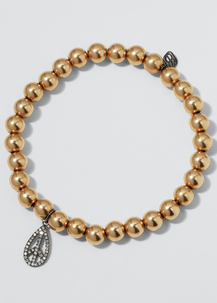 Image 1 of 2: 6mm Golden Beaded Bracelet with Diamond Teardrop Peace Charm