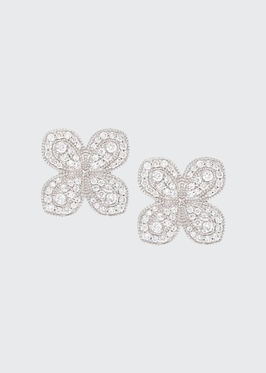Image 1 of 1: Scallop Pave Petal Earrings with Diamonds in 18K White Gold