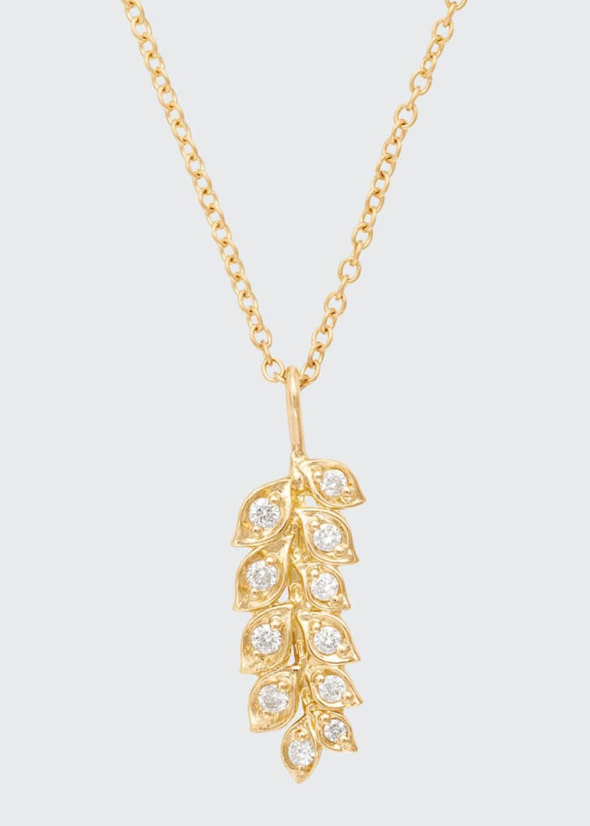 Image 1 of 1: 18K Gold Vine Pendant Necklace with Diamonds