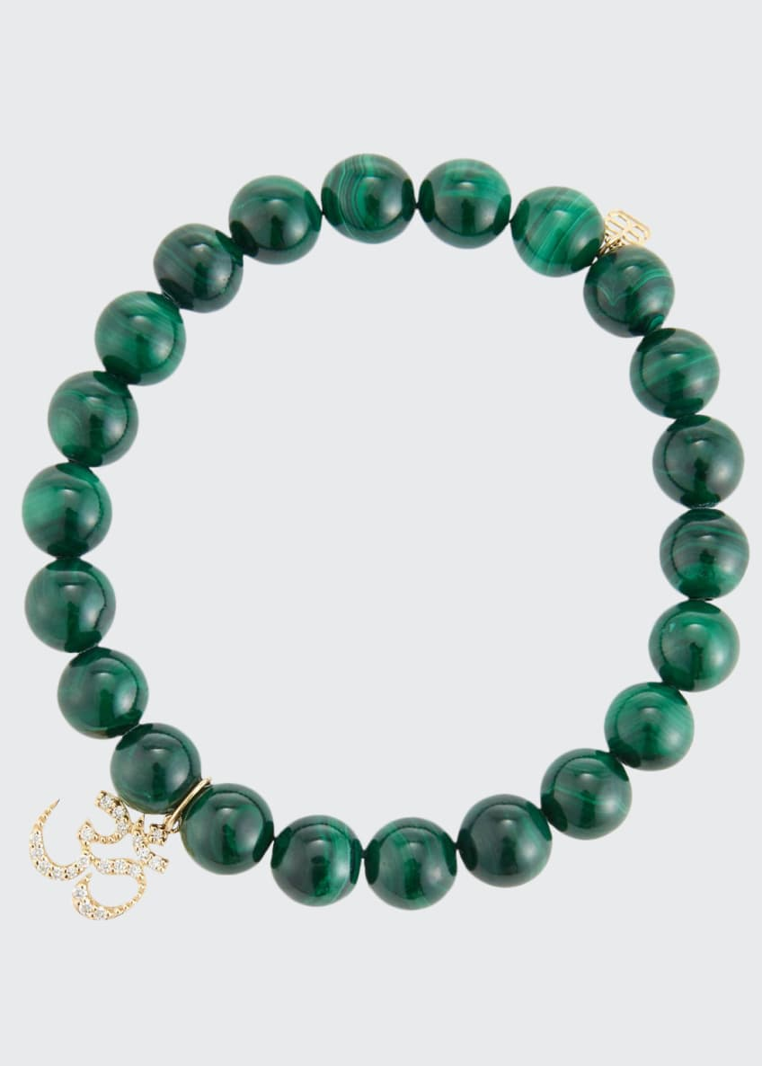 Image 1 of 2: 8mm Malachite Beaded Bracelet with Diamond Om Charm