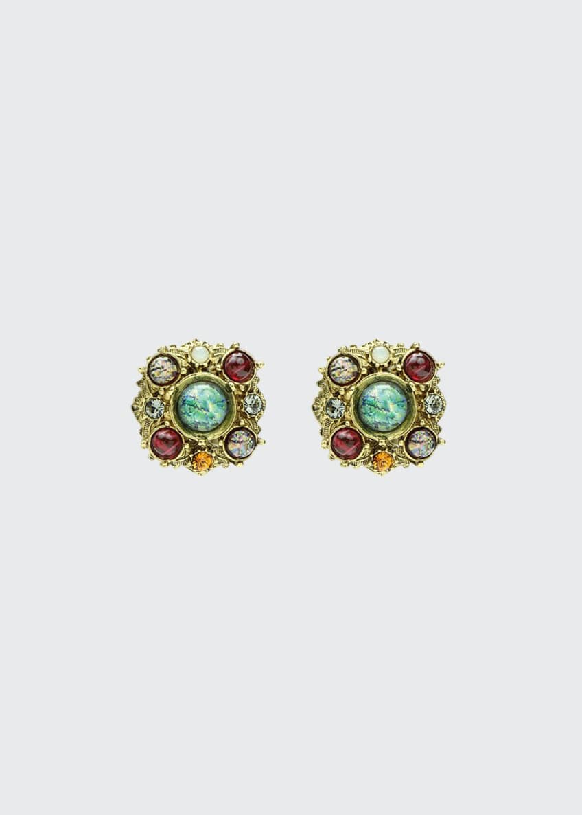 Image 1 of 1: Multicolor Round Clip-On Stud Earrings