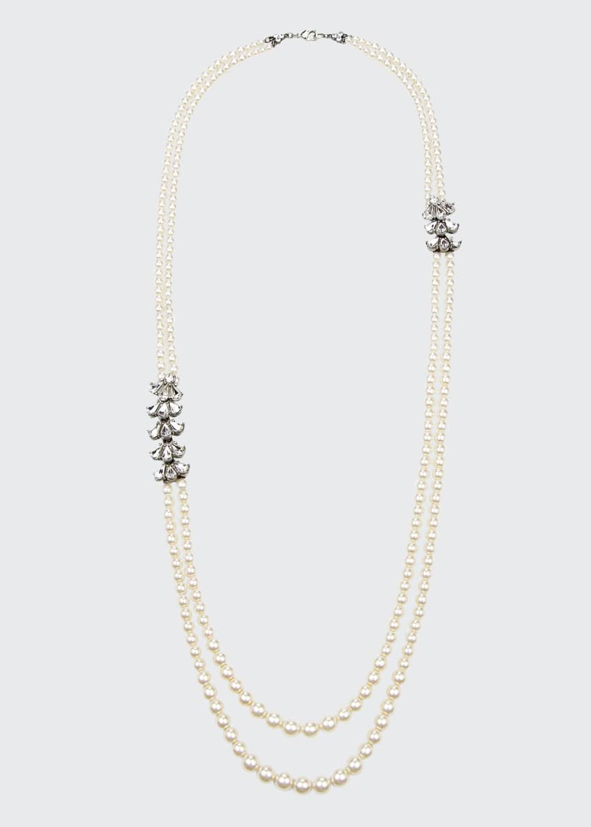 Image 1 of 1: Two-Row Pearly Beaded Necklace
