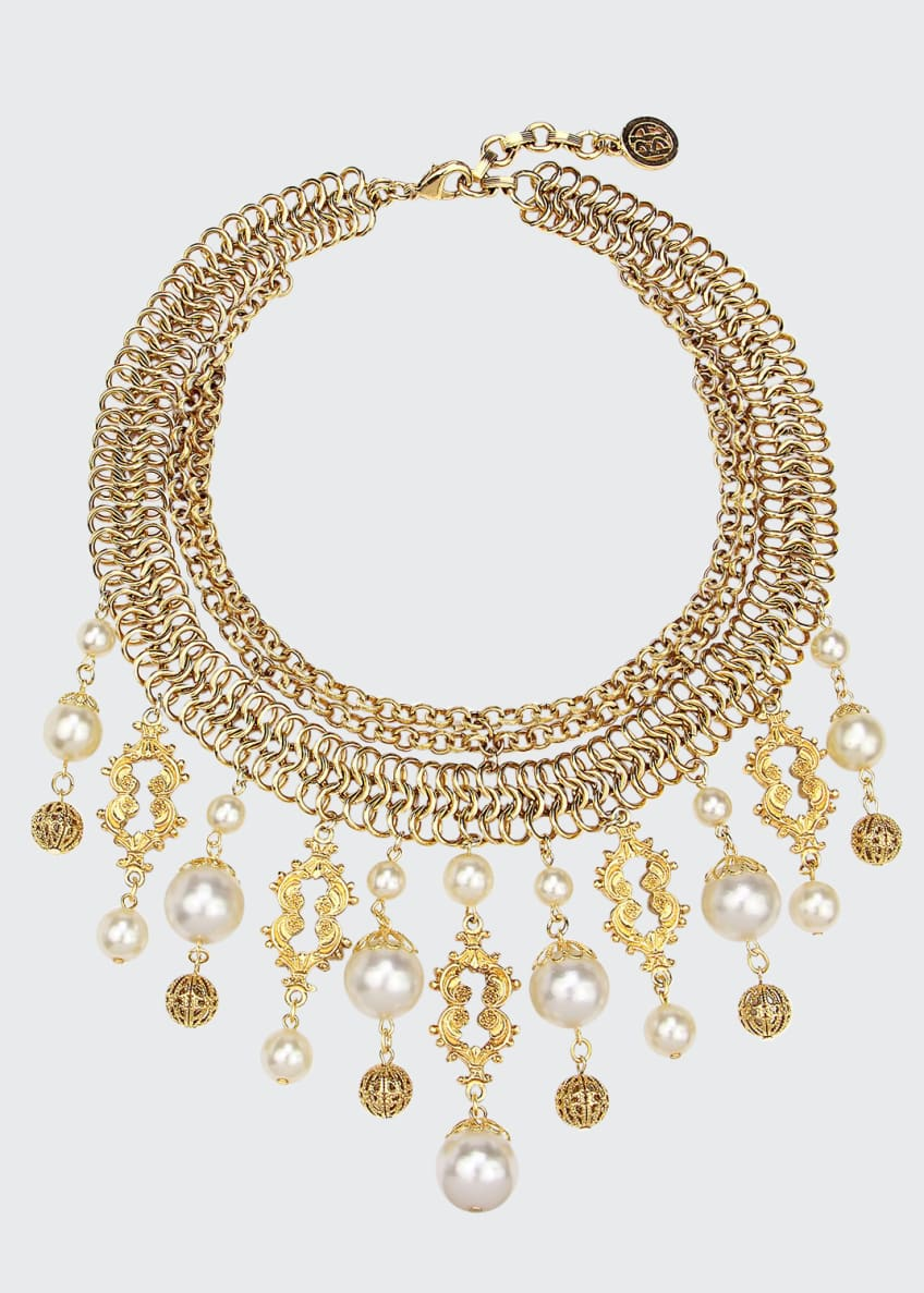 Image 1 of 1: Golden Chain Multi-Drop Pearly Bib Necklace