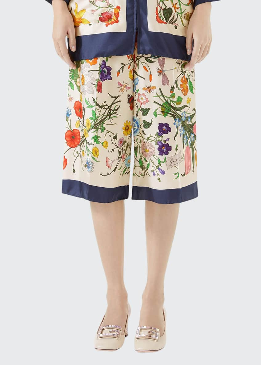 Image 1 of 6: Floral-Print Silk Twill Cropped Pajama Culottes
