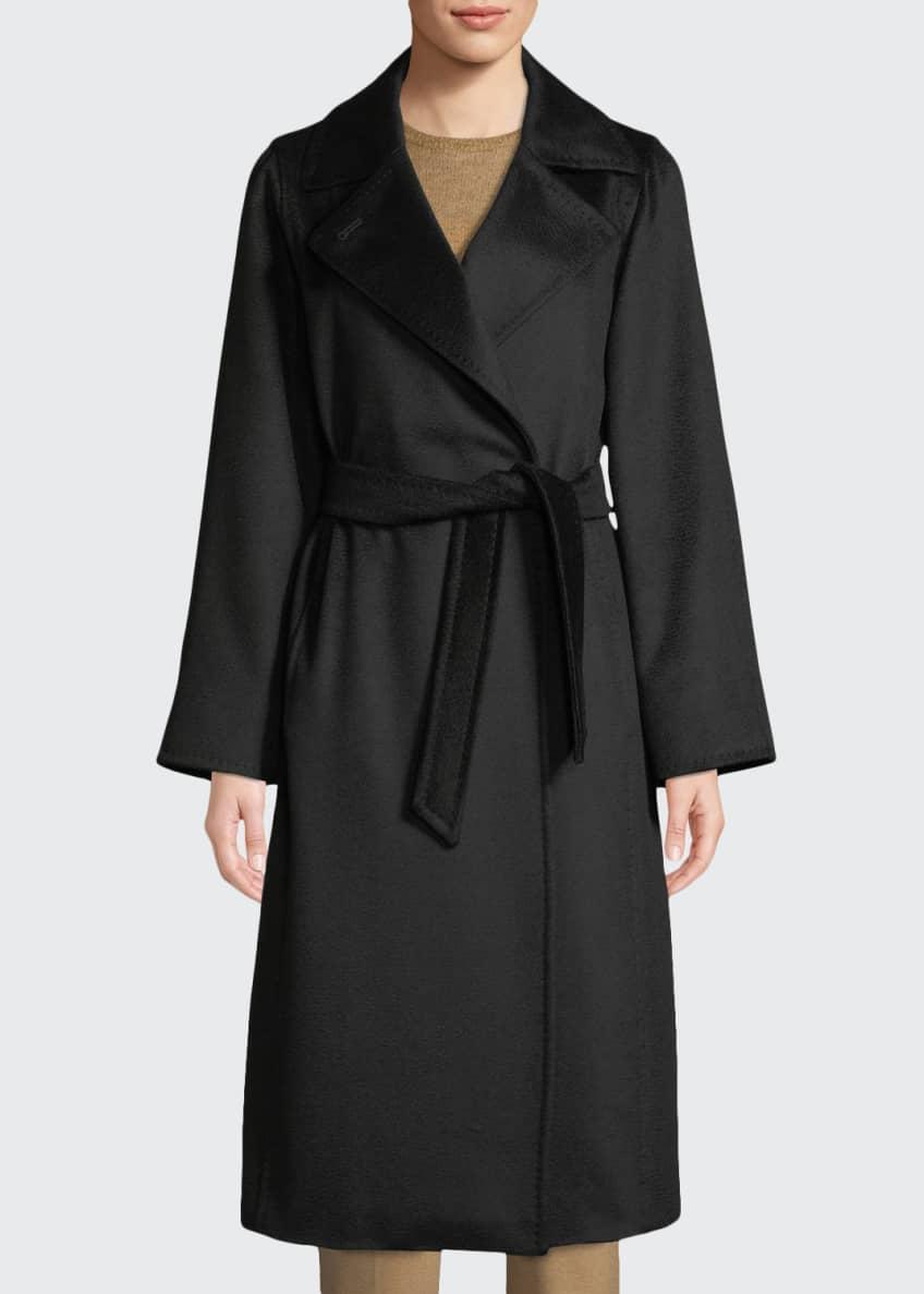 Maxmara Manuel Belted Camel Hair Coat, Black &
