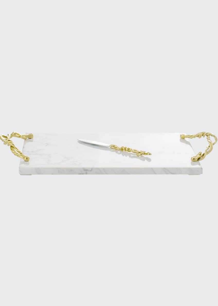 Image 1 of 1: Wisteria Gold Cheese Board with Knife