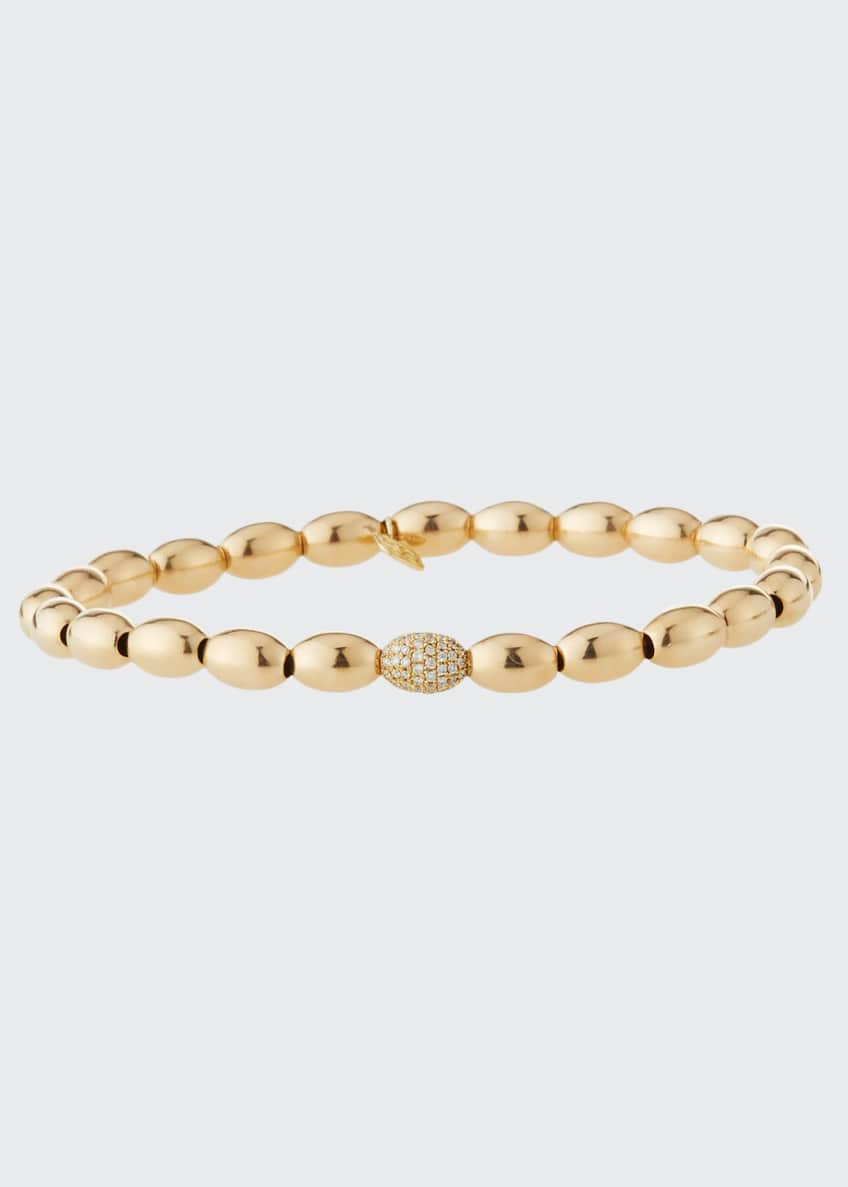 Image 1 of 1: 14k Gold & Diamond Bead Bracelet