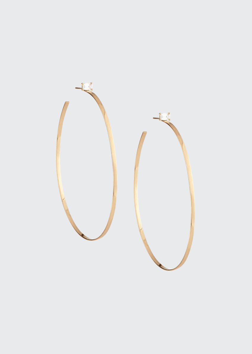 14k Gold Hoop Earrings with Emerald-Cut Diamond