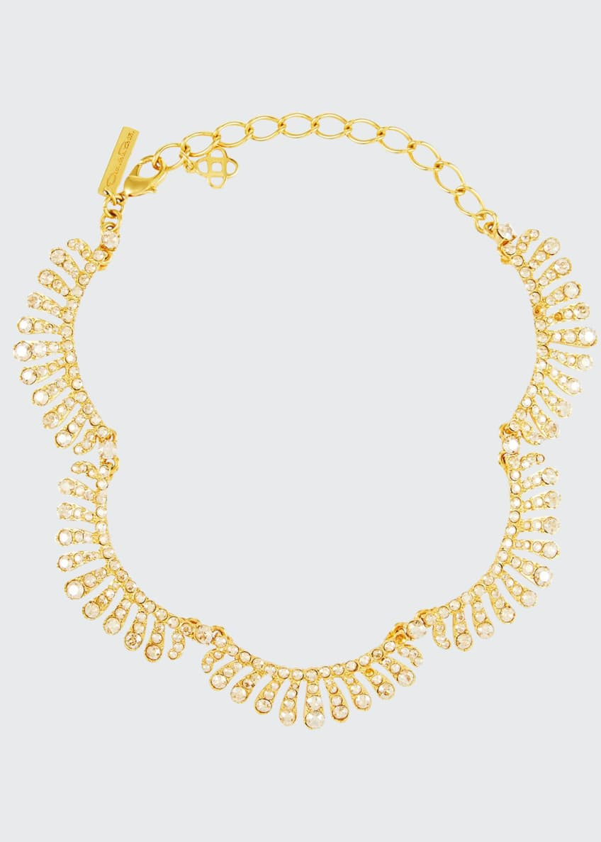 Image 1 of 2: Curved Crystal Choker Necklace
