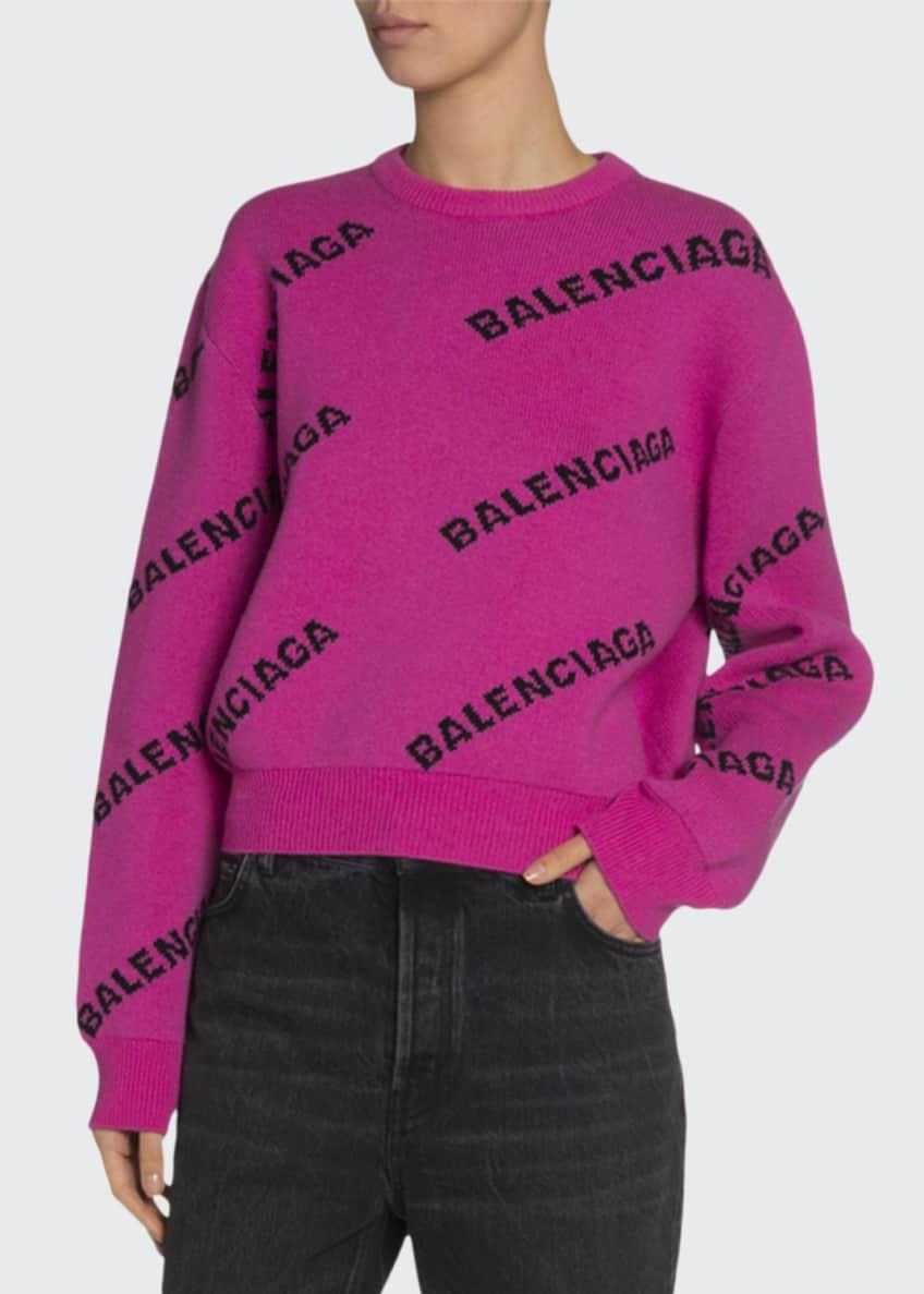 Balenciaga Crewneck Logo-Jacquard Sweater & Matching Items