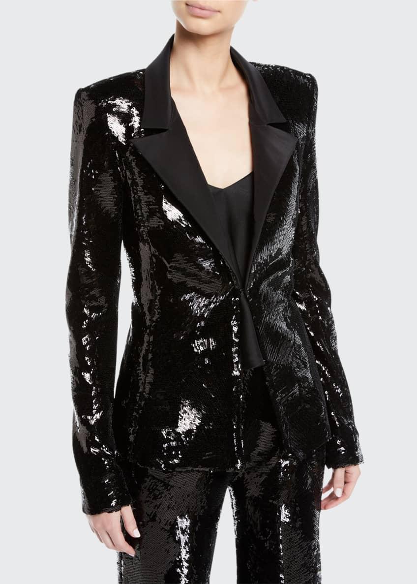Brandon Maxwell Single-Breasted Sequin Jacket w/ Faille Collar