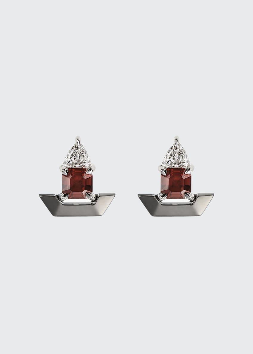 Nikos Koulis 18k White Gold Fame Ruby/Diamond Stud