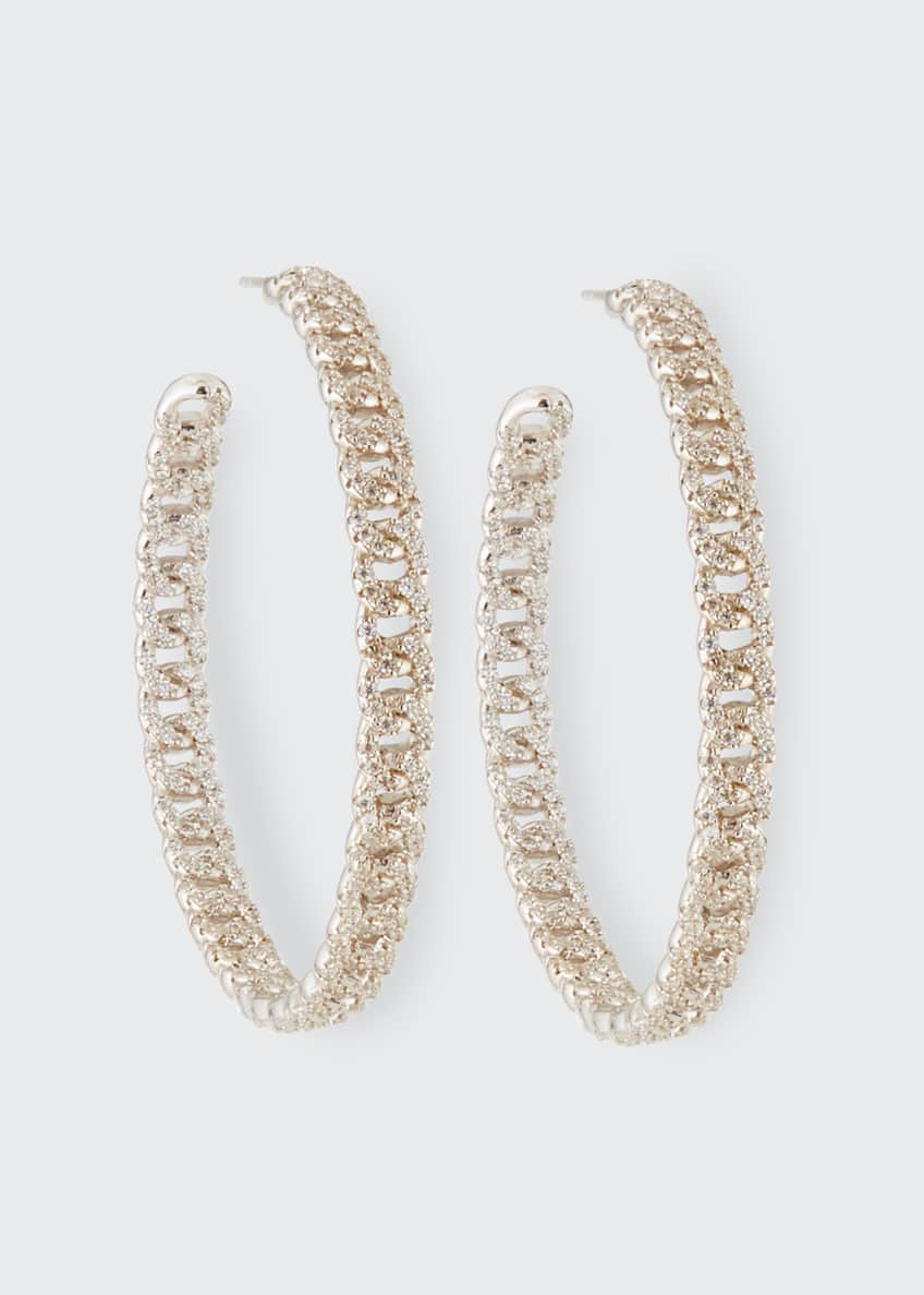 Image 1 of 2: Pave Curb Chain Hoop Earrings