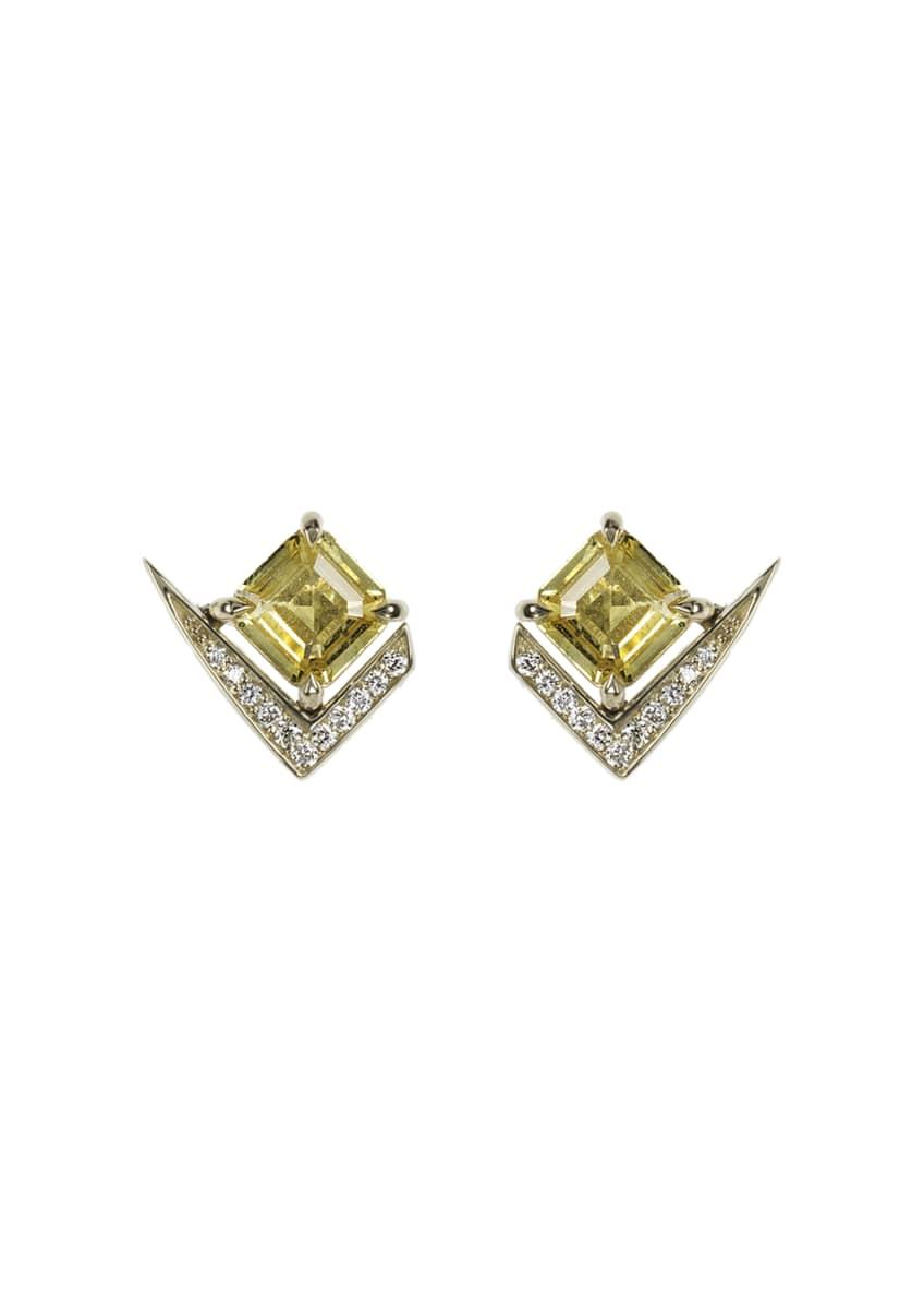 Nikos Koulis 18k Gold Fame Yellow Sapphire/Diamond Stud