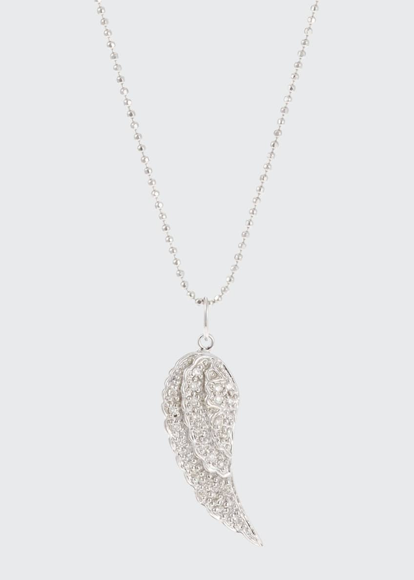 Image 1 of 1: 14k Small Angel Wing Pendant Necklace w/ Diamonds